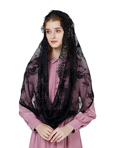 Mantilla De Encaje Española Mujer Capilla Velo Pañuelo de Iglesia Católica Bordado Chal Bufanda Negra Blanca V101