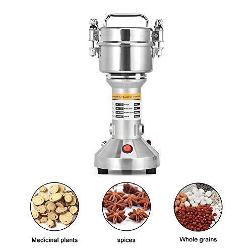 TOPQSC Portable Grains Poudre Machine 220V Haute Vitesse Électriques Moulin à Grain 28000RPM Machine à Poudre 3 Lames Calendrier Broyage Machine Robot Culinaire Pour Café D'herbe D'épice (150g)