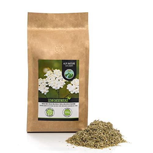 Schafgarbentee (500g), geschnitten, schonend getrocknet, Schafgarbenkraut 100% rein und naturbelassen zur Zubereitung von Tee, Kräutertee, Schafgarben Tee