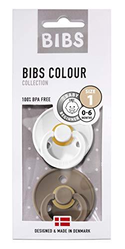 BIBS Schnuller Colour 2er Pack, Naturkautschuk, dänische Schnuller mit Kirschform (White/Dark Oak, Größe 1 (0-6 Monate))