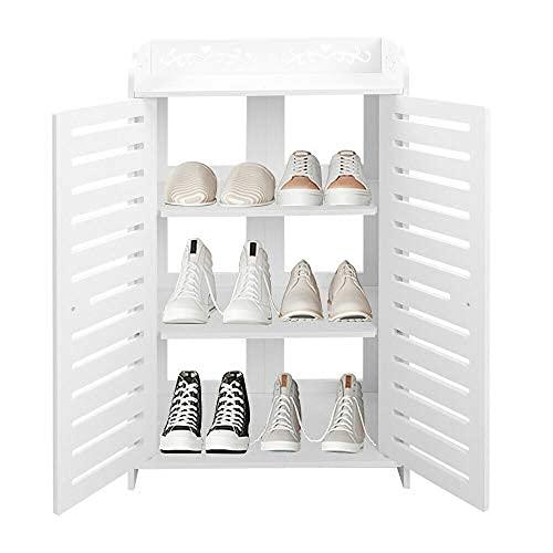 HHTX Armario para Almacenamiento de Zapatos, Moderno, Blanco Tallado, Organizador de zapateros, estantería, Armario con Puerta Doble, Muebles de pie para pasillos, Sala de Estar (4 Niveles)