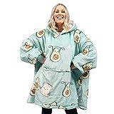 Iwinna Portable Blanket with Hood, Oversized Sherpa Hoodie Sweatshirt Blanket Printed Nap Robe Pullover Pyjamas Oversized Hooded Loungewear Sleepwear Men Women