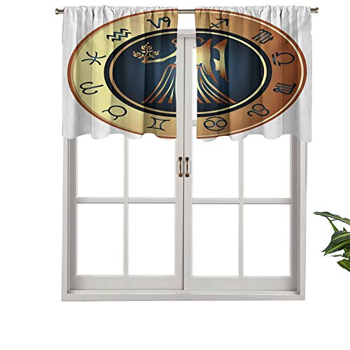 Hiiiman Indoor Privacy Window Valance Curtain Panel Circle with Twelve Sign Fantasy Woman Holding Wheat, Set of 1, 42'x18' for Sliding Patio Door/Dining