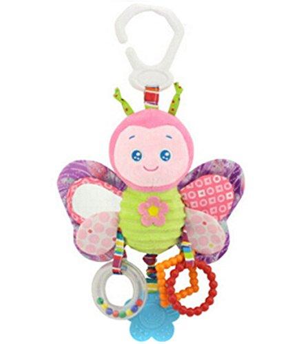 ODN Bébé mignon en peluche d'activité pour poussette bébé Jouets en peluche à suspendre avec Papillon, Oiseau, Lapin, Canard désign (Papillon)
