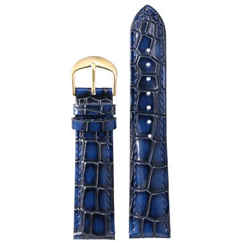 22mm azul de lujo de piel de primera calidad reloj de pulsera brazalete de reemplazo para los hombres genuina piel de becerro italiano cocodrilo pesada de grano
