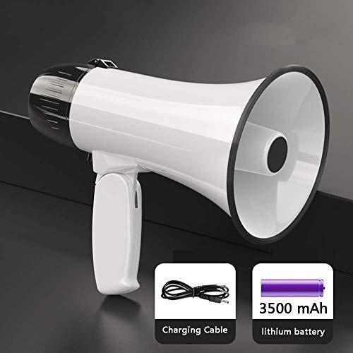 Zixin Tragbares Megaphon Lautsprecher Sirene Megafon - kompakt und batteriebetriebenes, Mikrofon, 2 Modi, PA Ton und klappbarem Griff for Cheerleading und die Polizei zu verwenden, Weiss