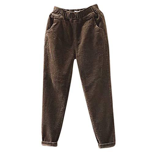 Dasongff Cordhosen für Damen Mode Einfarbig Lose Hosen mit Taschen Elastischer Bund Mittlere Taille Casual Clubwear Streetwear Hosen