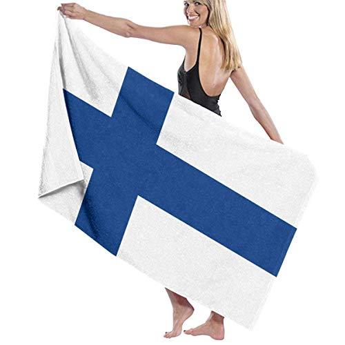 Tcerlcir Strandtuch Badetuch Saunatuch Duschtuch Ultra Leicht Handtuch Schnelltrocknend Saugfähiges Sporthandtuch Flagge von Finnland 130X80cm