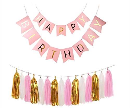 Zuou Happy Birthday Banner Set, Tissue Paper Tassels Garland 15Pcs for Wedding Birthday Baby Shower Party Decoration