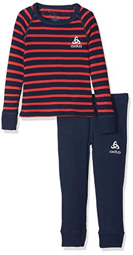 Odlo Kinder Active Originals Warm Kids Unterwäscheset, Diving Navy/Hibiscus/Stripes, 104