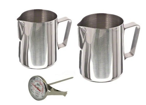 Stainless Steel Frothing Milk Steaming Pitcher 12 oz and 20 oz with Thermometer Set