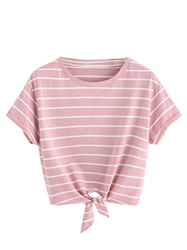 ROMWE Women's Knot Front Long Sleeve Striped Crop Top Tee T-shirt, Pink & White, Large / US 8-10