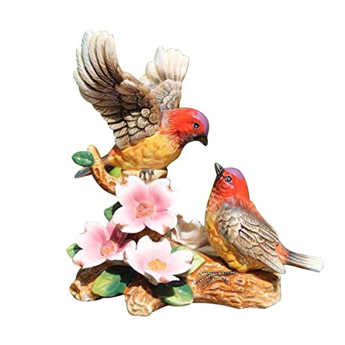 FORLONG 9 Inch Collectible Statues & Figurines Home Accent Decor with 3D Hand-Painted Black-Throated Tit and Dogwood Flowers Design(Large)