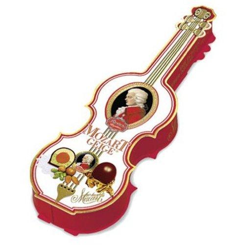 Reber Mozart-Geige, Echte Reber Mozart-Kugeln, Pralinen aus Zartbitter-Schokolade, Marzipan, Nougat, Tolles Geschenk, 7er-Packung