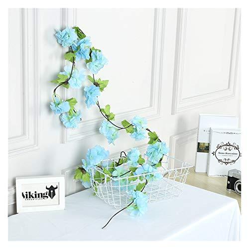 Flores Artificiales 2.3 m Flores de Cerezo Artificial Flores de la Boda Guirnalda Ivy Decoration Fake Silk Flowers Vine para la Partida Bow Decor Decor String (Farbe : 11)
