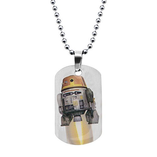 Star Wars Jewelry Boys' Rebel Chopper Dog Tag Chain Pendant Necklace, 16