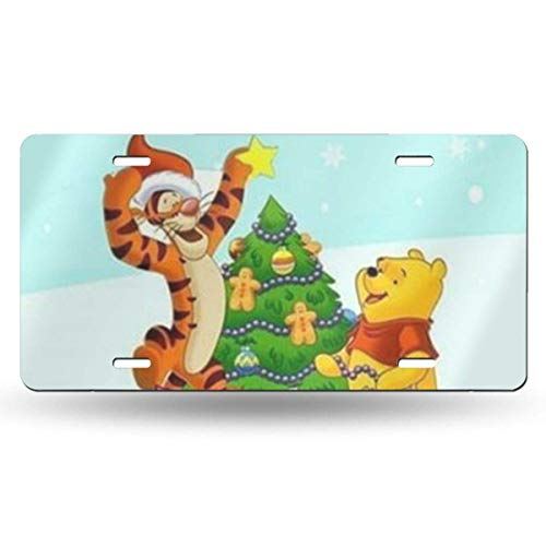 Suzanne Betty Aluminum License Plates - Winnie The Pooh Christmas License Plate Tag Car Accessories 12 X 6 Inches