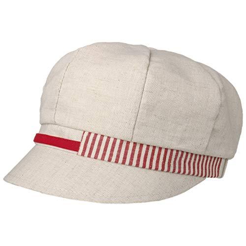 Lipodo Stripes Leinen-Baumwolle Ballonmütze Schildmütze Leinencap Damencap Baker-Boy-Mütze Damen - Made in Italy Baumwollcap Sommercap mit Schirm, Schirm Frühling-Sommer - One Size rot