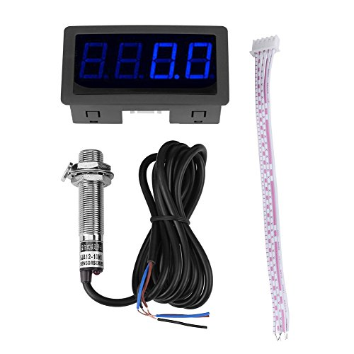 DollaTek 4-stellige Drehzahlmesser Geschwindigkeitsanzeige Tachometer + Näherungssensor NPN Hall-Effekt induktive LED-Panels Digitalmodul Indoor für Auto LED-Anzeige