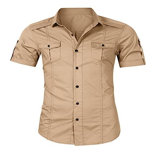 CFWL Herren Arbeitskleidung Kurzarmhemden Herren Sommerhemden Braun M