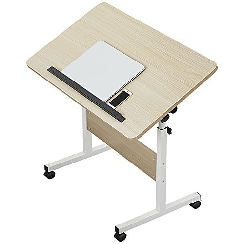 VIY Mesa para Ordenador portátil, Altura Ajustable, con Ruedas, Soporte Plegable de Madera, Escritorio, Color Negro, 40x60x65-87cm