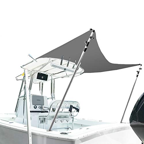 """North East Harbor Boat Sun Shade Top Extension for Biminis & T-Tops - 67"""" Length x 67"""" Width (5.5ft x 5.5ft) Adjustable Height with 1 1/8 Telescopic Aluminum Poles, Gray"""