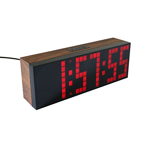 Yosoo Large Big 4 6 Digit Jumbo LED Digital Alarm Calendar Snooze Wall Desk Clock (red, 6-Digit Version)