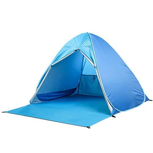 Gran refugio para el sol, tienda de playa, grande, portátil, protección UV, paraguas deportivo, ajuste automático para 3 – 4 personas para camping, senderismo, toldo con bolsa de transporte (azul)
