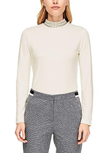 s.Oliver BLACK LABEL Damen Shirt mit Nieten-Stehkragen Whipped Cream 46