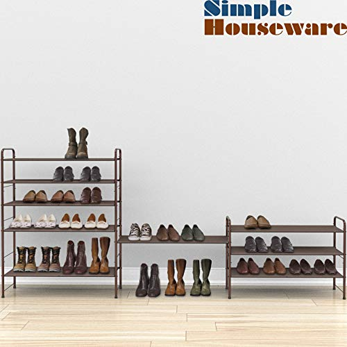 Simple Houseware 3-Tier Stackable Shoe Rack Storage Organizer 12-Pair / 20-Pair, Bronze Florida