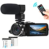 Cámara de Video, ACTITOP Camcorder FHD 1080P 24MP IR Visión Nocturna Videocámara con Pantalla Táctil LCD de 3'con Micrófono Externo y Control Remoto