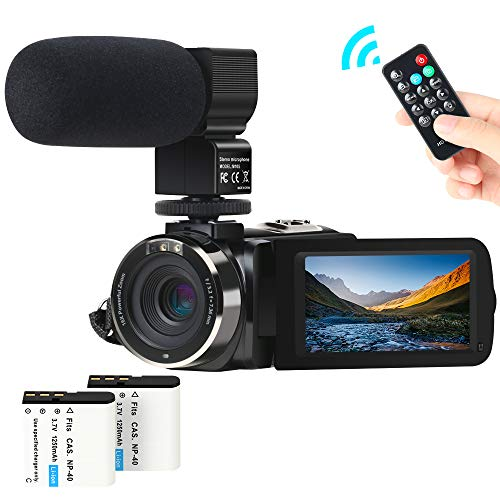 "Cámara de Video, ACTITOP Camcorder FHD 1080P 24MP IR Visión Nocturna Videocámara con Pantalla Táctil LCD de 3""con Micrófono Externo y Control Remoto"