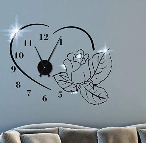 tjapalo TKU7 Wanduhr Wohnzimmer Schlafzimmer Aufkleber Wandtattoo Uhr mit Uhrwerk Wandaufkleber...