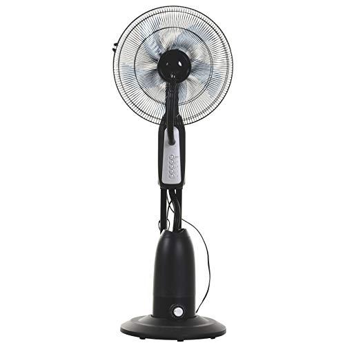 Ventilador de nebulización sobre ruedas - silencioso oscilante 90 W - 4 velocidades - dim. Ø 44 x 120H cm negro gris