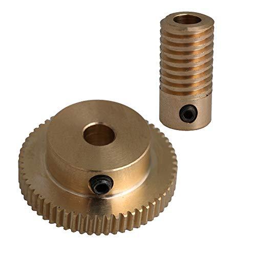 CNBTR 0.5 Modulus Brass Metal Worm Speed Reducer with 60 Teeth Worm Wheel 5mm Bore Gear Shaft