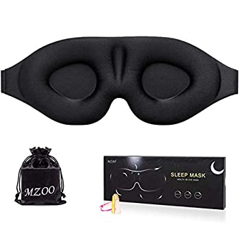 MZOO Sleep Eye Mask for Men Women 3D Contoured Cup Sleeping Mask & Blindfold Concave Molded Night Sleep Mask Block Out Light Soft Comfort Eye Shade Cover for Travel Yoga Nap Black