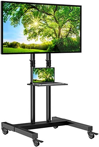 Mobile TV Stand on Wheels for 32 60 Inch Flat Curved Panel Screens TVs Height Adjustable Floor product image