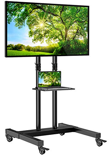Mobile TV Stand on Wheels for 32-60 Inch Flat/Curved Panel Screens TVs - Height Adjustable Floor Trolley Stand Holds up to 99lbs - Tilt Rolling TV Cart with Shelf Max VESA 600x400mm