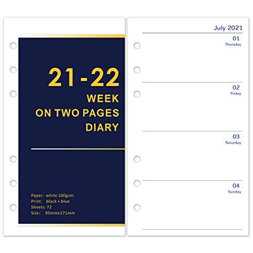Kalender 2021 2022 Personal A6 Einlage 1Woche 2Seiten Wochenblätter, 6 Löcher 72 Blätter Nachfülleinlagen für Ringbuch A6, kalendereinlagen A6, Europäische Feiertage, 95 x 171 mm,Schwarz + Blau