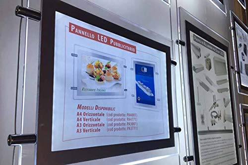 Prikbord houder voor vitrine met plexiglas, LED, A4, horizontaal, om op te hangen, voor vetrine