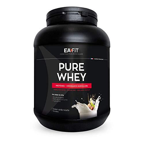 EAFIT Pure Whey - Vainilla y avellana 750 g - Crecimiento muscular - proteínas tri-fuentes de whey - Asimilación rápida - Contiene aminoácidos y enzimas digestivas - Complejo HIGH AMINO