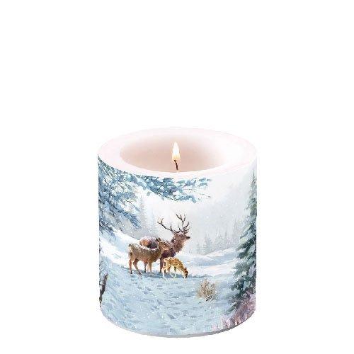 """Ambiente Weihnachten Winter Hirsch Familie 3 """" Stumpenkerze 8cm Hoch"""