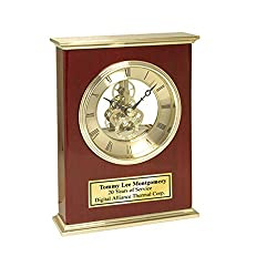 AllGiftFrames Retirement Gift Employee Coworker Service Award Engraved Desk Clock Features a Brass top Bottom Panel with Glossy Wood Cherry Display and Suspended Da Vinci Gear Clock