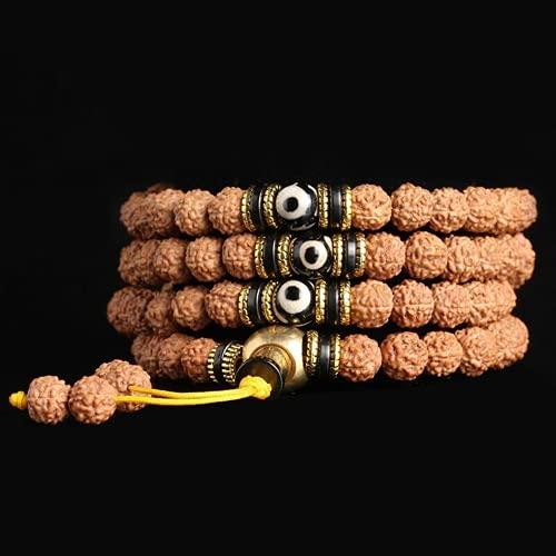 JONJUMP Pulsera tibetana Rudraksha Bodhi Seeds 108 Rosario redondo cuentas pulseras Buda oración madera Mala pulsera 8mm