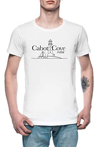 Cabot Cove, Maine - Murder She Wrote Uomo Maglietta T-Shirt Tee Bianco Men's White T-Shirt
