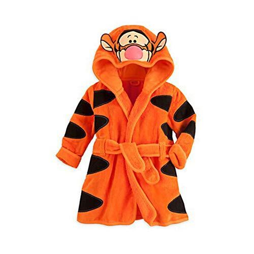 LOKKSI - Albornoz unisex con capucha, pijama de franela esponjosa para niños de 1 a 6 años, diseño de tigre de sirena, color naranja