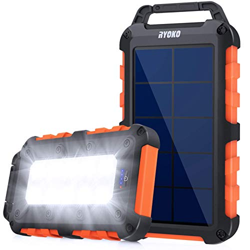 RYOKO Solar Power Bank Portable Charger 10000mAh Huge Capacity with 2 USB Outputs & LED Flashlight, Waterproof Fast Charging Phone Charger for Smartphone, iPad and Outdoor Camping/Hiking, Orange