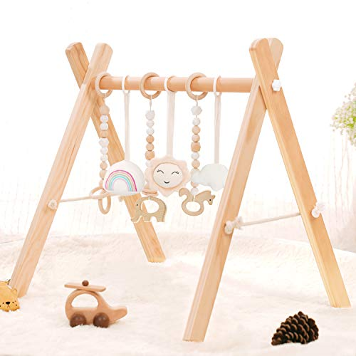 HAN-MM Wooden Baby Gym with 6 Wooden Baby Teething Toys Foldable Baby Play Gym Frame Activity Gym Hanging Bar Newborn Gift Baby Girl and Boy Gym (Natural Color)