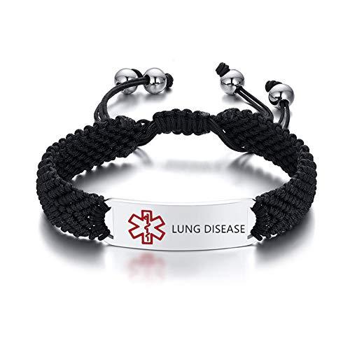 NineJewelry Personalised Medical Alert ID Bracelet for Men Women - Handmade Braided Rope Bracelets Medic Alert Caduceus Allergy Awareness Jewellery,Adjustable,Free Engraved