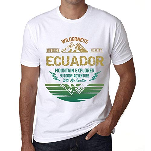 Hombre Camiseta Vintage T-shirt Gráfico ECUADOR Mountain Explorer Blanco